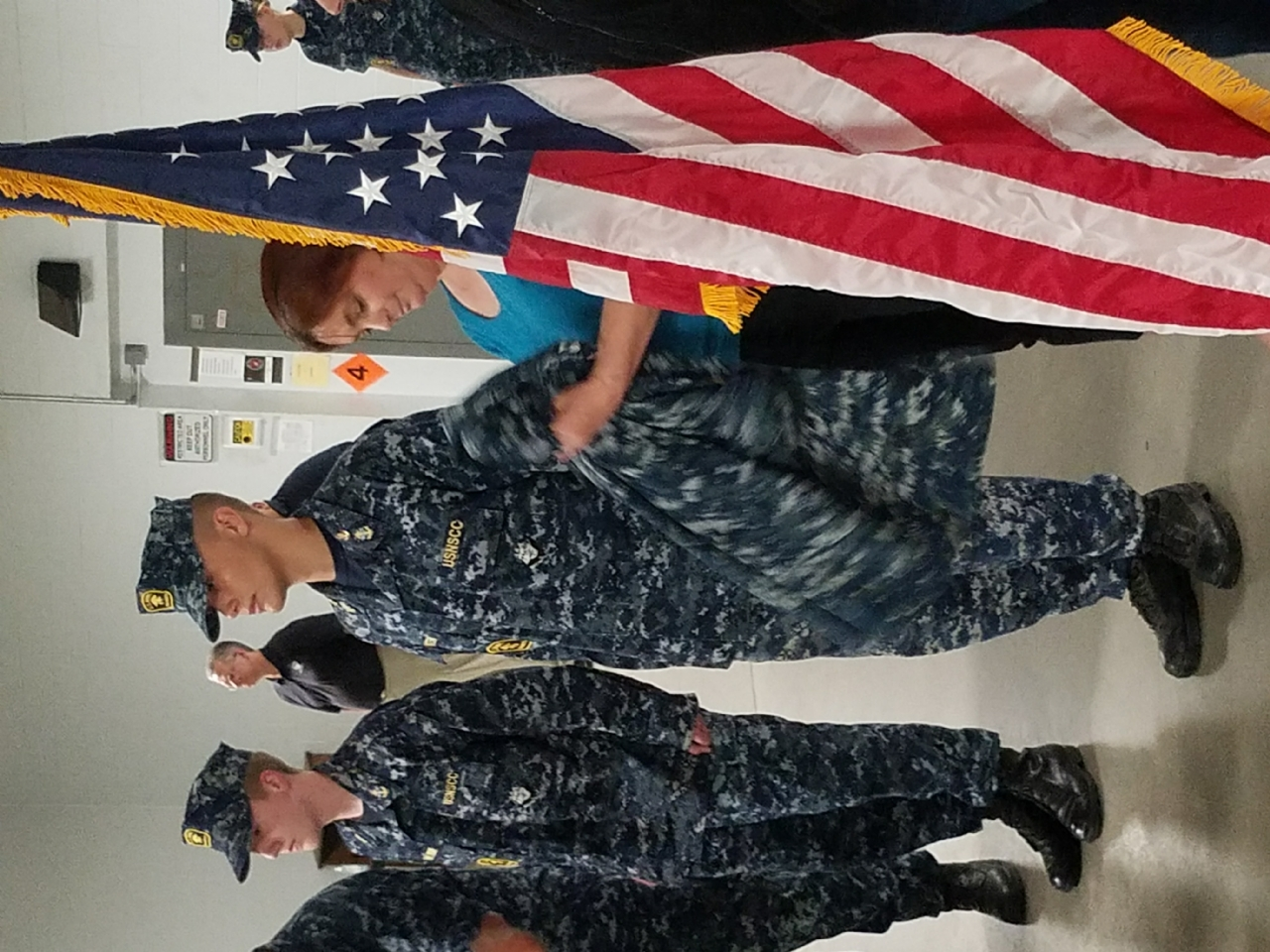 Donation and ceremony of US Parade Flag to Sea Cadets. Ed Baker, Commander Perkins, and others.