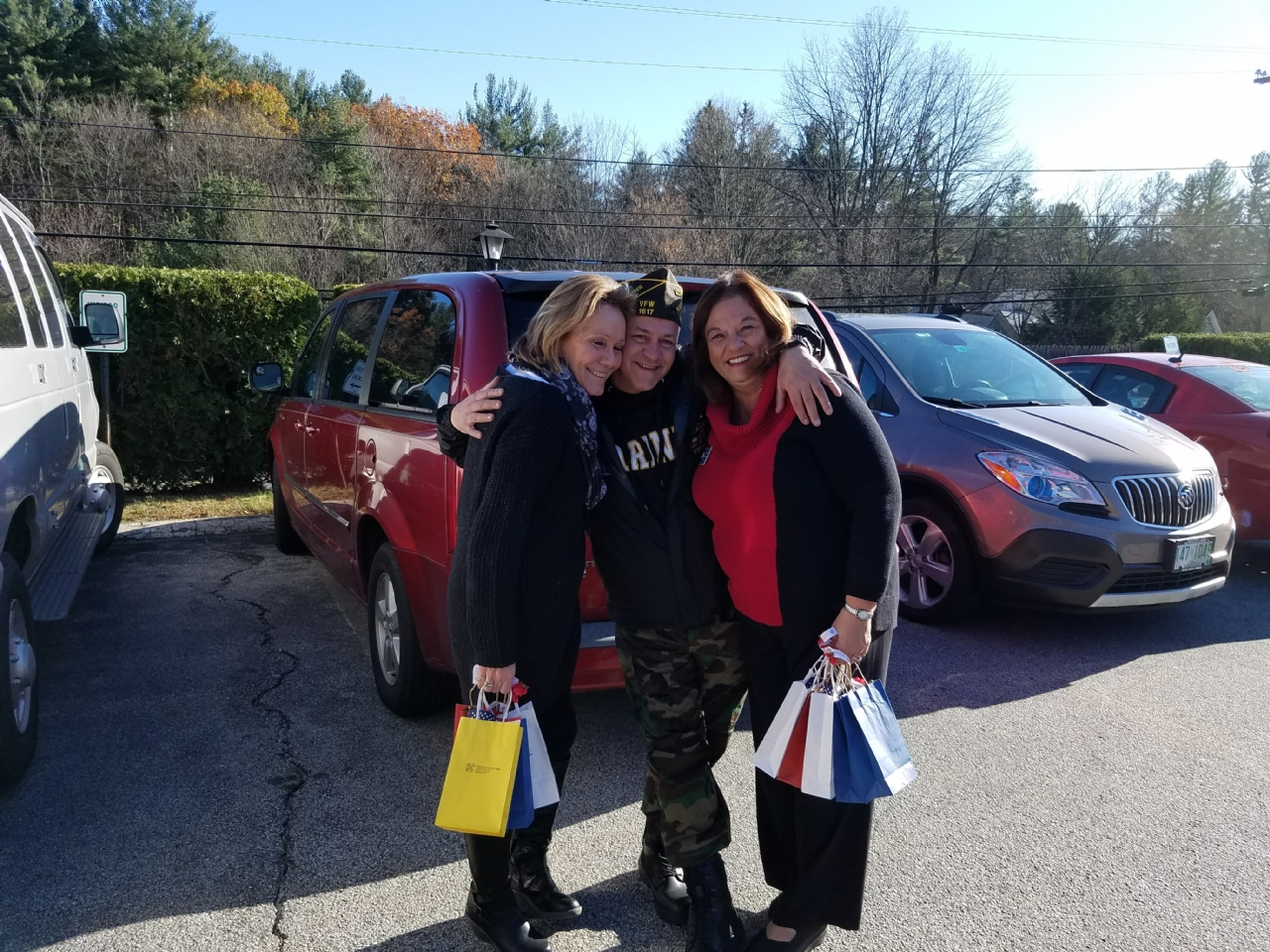 QM Ed Baker, Aux President Sandy Hodgkins, and Aux Sr Vice President Katherine Morrison having fun while delivering Veteran's Day Bags to Veterans around town.