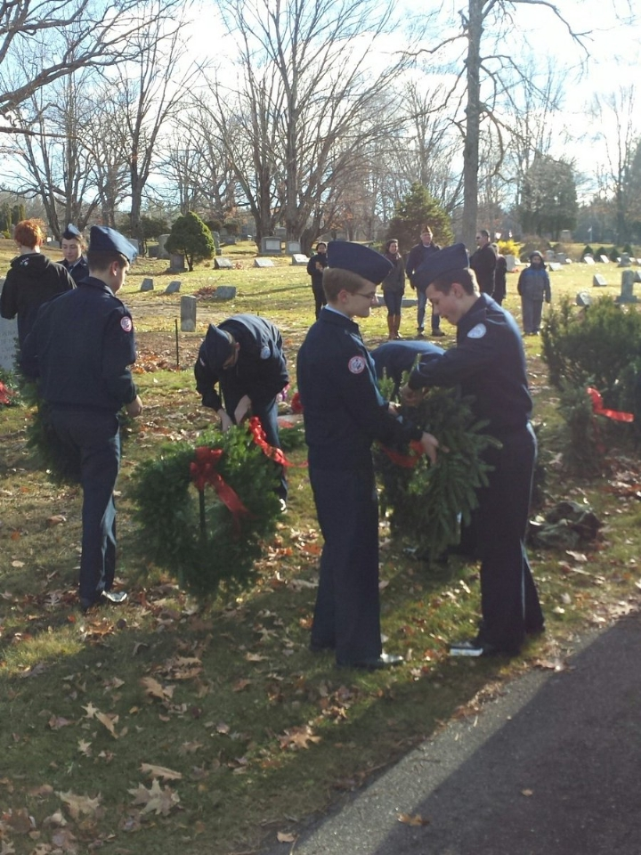 AFJROTC Cadets assist with wreath laying at Forrest Hills Cemetery.