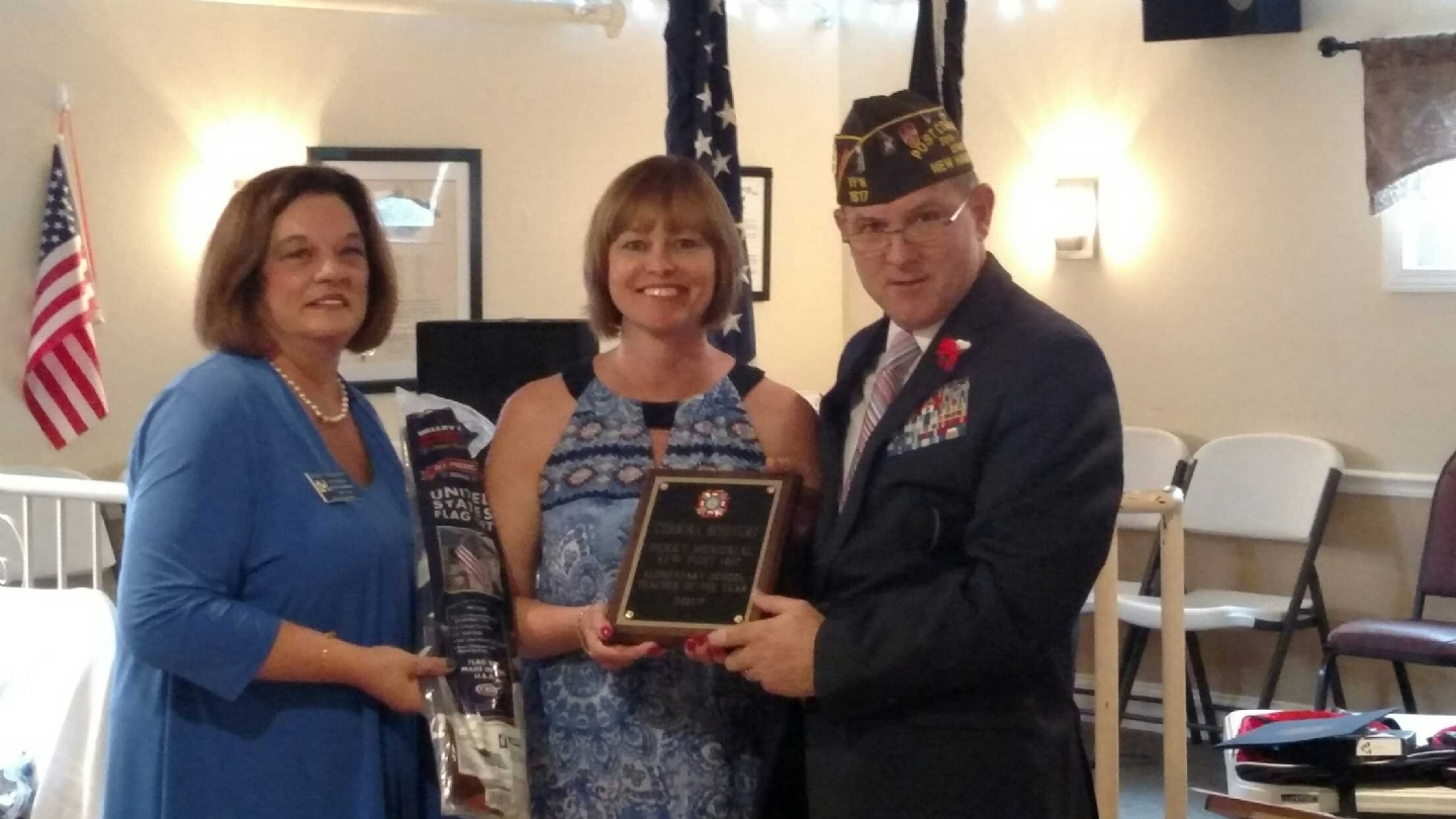 Corinna Boisvert receiving her Post Level Award. She also won at District 7 and Dept of NH VFW for Elementary Teacher of the Year.